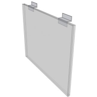 """WM1711FSW - 17"""" X 11"""" sign holder (Landscape - Flush with Slat Wall) - Wall Mount Acrylic Sign Holder - Standard - 1/8 Inch with Horizontal Business Card Holder"""