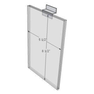 "WM5585FSW - 5.5"" X 8.5"" sign holder (Portrait - Flush with Slat Wall) - Wall Mount Acrylic Sign Holder - Standard - 1/8 Inch with Horizontal Business Card Holder"