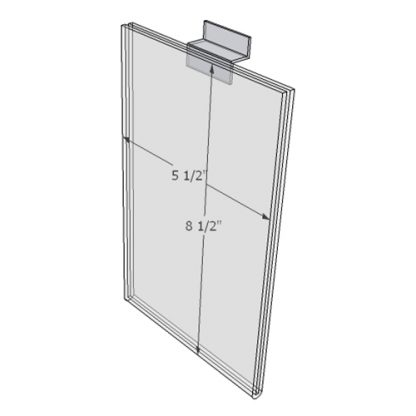"""WM5585FSW - 5.5"""" X 8.5"""" sign holder (Portrait - Flush with Slat Wall) - Wall Mount Acrylic Sign Holder - Standard - 1/8 Inch with Vertical Business Card Holder"""