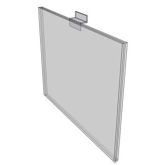 "WM7050FSW - 7"" X 5"" sign holder (Landscape - Flush with Slat Wall) - Wall Mount Acrylic Sign Holder - Standard - 1/8 Inch with Horizontal Business Card Holder"