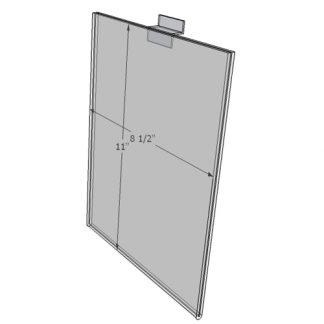 "WM8511FSW - 8.5"" X 11"" sign holder (Portrait - Flush with Slat Wall) - Wall Mount Acrylic Sign Holder - Standard - 1/8 Inch with Horizontal Business Card Holder"