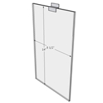 "WM8514FSW - 8.5"" X 14"" sign holder (Portrait - Flush with Slat Wall) - Wall Mount Acrylic Sign Holder - Standard - 1/8 Inch with Vertical Business Card Holder"