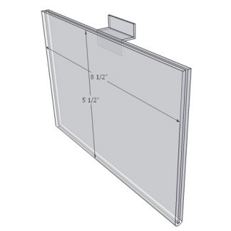 """WM8555FSW - 8.5"""" X 5.5"""" (Landscape - Flush with Slat Wall) - Wall Mount Acrylic Sign Holder - Standard - 1/8 Inch with Horizontal Business Card Holder"""