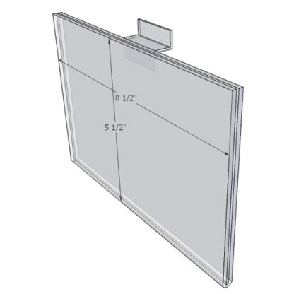 """WM8555FSW - 8.5"""" X 5.5"""" (Landscape - Flush with Slat Wall) - Wall Mount Acrylic Sign Holder - Standard - 1/8 Inch with Vertical Business Card Holder"""