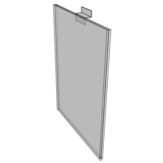 "WM9012FSW - 9"" X 12"" sign holder (Portrait - Flush with Slat Wall) - Wall Mount Acrylic Sign Holder - Standard - 1/8 Inch with Vertical Business Card Holder"