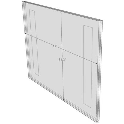 """WM1185FT - 11"""" X 8.5"""" (Landscape - Flush with Tape) - Wall Mount Acrylic Sign Holder - Standard - 1/8 Inch with Vertical Business Card Holder"""