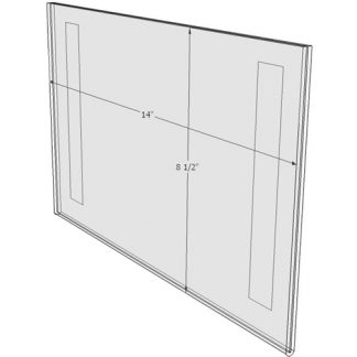 "WM1485FT - 14"" X 8.5"" (Landscape - Flush with Tape) - Wall Mount Acrylic Sign Holder - Standard - 1/8 Inch with Horizontal Business Card Holder"