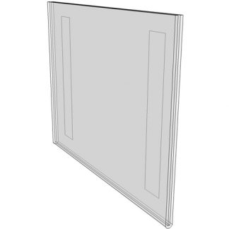 """WM7050FT - 7"""" X 5"""" (Landscape - Flush with Tape) - Wall Mount Acrylic Sign Holder - Standard - 1/8 Inch with Horizontal Business Card Holder"""