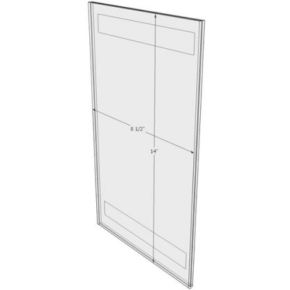 """WM8514FT - 8.5"""" X 14"""" (Portrait - Flush with Tape) - Wall Mount Acrylic Sign Holder - Standard - 1/8 Inch with Horizontal Business Card Holder"""