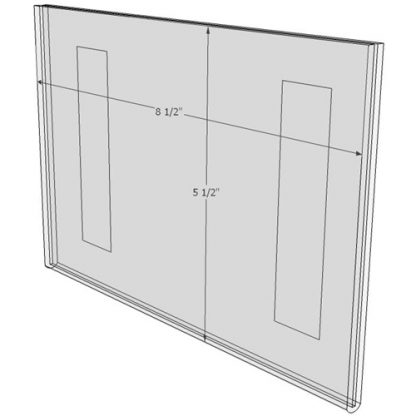 "WM8555FT - 8.5"" X 5.5"" (Landscape - Flush with Tape) - Wall Mount Acrylic Sign Holder - Standard - 1/8 Inch with Horizontal Business Card Holder"