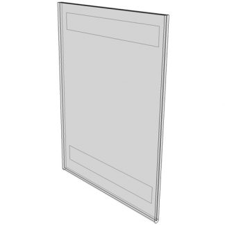 "WM5070FV - 5"" X 7"" (Portrait - Flush with Velcro) - Wall Mount Acrylic Sign Holder - Standard - 1/8 Inch with Vertical Business Card Holder"