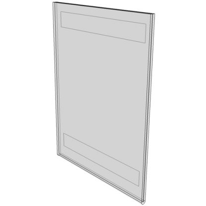 "WM5070FV - 5"" X 7"" (Portrait - Flush with Velcro) - Wall Mount Acrylic Sign Holder - Standard - 1/8 Inch with Horizontal Business Card Holder"