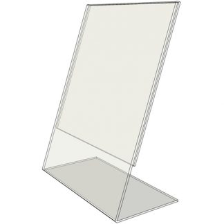 "TB5070 - 5"" X 7"" slant back (Portrait) - Tilt Back Acrylic Sign Holder - Standard - 1/8 Inch with Horizontal Business Card Holder"