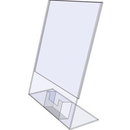 """TB5070 - 5"""" X 7"""" slant back (Portrait) - Tilt Back Acrylic Sign Holder - Standard - 1/8 Inch with Brochure Pocket"""