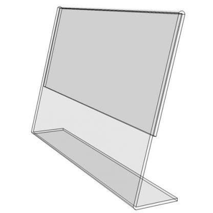 """TB7050 - 7"""" X 5"""" slant back (Landscape) - Tilt Back Acrylic Sign Holder - Standard - 1/8 Inch with Horizontal Business Card Holder"""