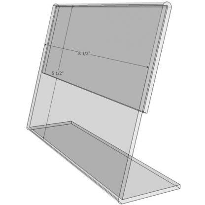 """TB8555 - 8.5"""" X 5.5"""" tilt back (Landscape) - Tilt Back Acrylic Sign Holder - Standard - 1/8 Inch with Brochure Pocket"""