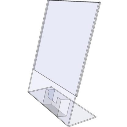 "TB5585 - 5.5"" X 8.5"" tilt back (Portrait) - Tilt Back Acrylic Sign Holder - Standard - 1/8 Inch with Vertical Business Card Holder"