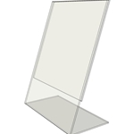 "TB8010 - 8"" X 10"" tilt back (Portrait) - Tilt Back Acrylic Sign Holder - Standard - 1/8 Inch with Horizontal Business Card Holder"