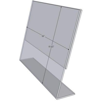 """TB1185 - 11"""" X 8.5"""" angle tilt (Landscape) - Tilt Back Acrylic Sign Holder - Standard - 1/8 Inch with Horizontal Business Card Holder"""