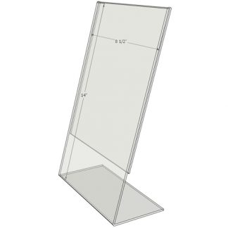 "TB8514 - 8.5"" X 14"" angled tilt (Portrait) - Tilt Back Acrylic Sign Holder - Standard - 1/8 Inch with Vertical Business Card Holder"
