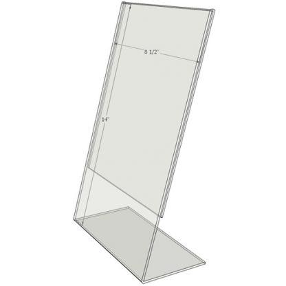 """TB8514 - 8.5"""" X 14"""" angled tilt (Portrait) - Tilt Back Acrylic Sign Holder - Standard - 1/8 Inch with Vertical Business Card Holder"""