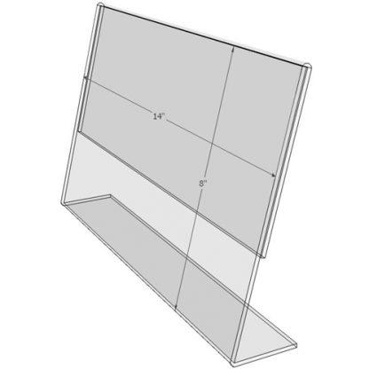 """TB1485 - 14"""" X 8.5"""" angled tilt (Landscape) - Tilt Back Acrylic Sign Holder - Standard - 1/8 Inch with Vertical Business Card Holder"""