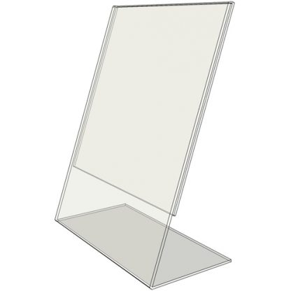 "TB1117 - 11"" X 17"" slant back (Portrait) - Tilt Back Acrylic Sign Holder - Standard - 1/8 Inch with Horizontal Business Card Holder"