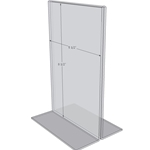 "OB5585 - 5.5"" X 8.5"" countertop sign holder (Portrait) - Standard - 1/8 Inch with Vertical Business Card Holder"