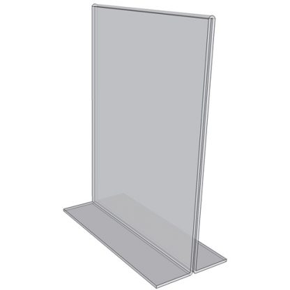 """OB8010 - 8"""" X 10"""" countertop sign holder (Portrait) - Standard - 1/8 Inch with Horizontal Business Card Holder"""