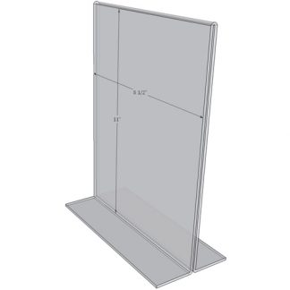 "OB8511 - 8.5"" X 11"" countertop sign holder (Portrait) - Standard - 1/8 Inch with Vertical Business Card Holder"