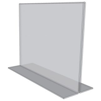 """OB1290 - 12"""" X 9"""" countertop sign holder (Landscape) - Standard - 1/8 Inch with Horizontal Business Card Holder"""