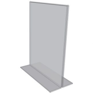 "OB1117 - 11"" X 17"" countertop sign holder (Portrait) - Standard - 1/8 Inch with Horizontal Business Card Holder"
