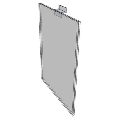 "WM8010FSW - 8"" X 10"" sign holder (Portrait - Flush with Slat Wall) - Wall Mount Acrylic Sign Holder - Standard - 1/8 Inch with Vertical Business Card Holder"