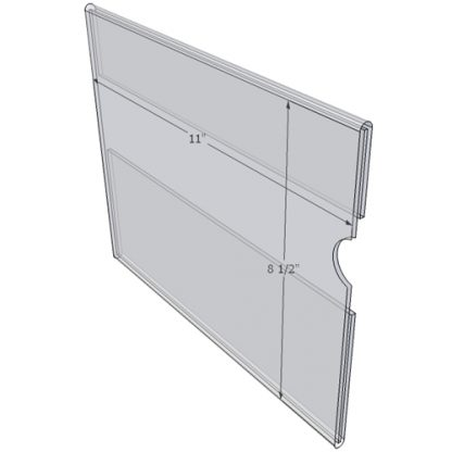 "WM1185C - 11"" X 8.5"" wall mounted (Landscape - C-Style Sign Holder Only) - Wall Mount Acrylic Sign Holder - Standard - 1/8 Inch Thickness"