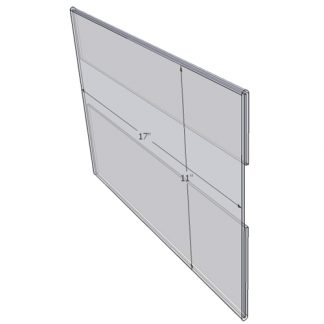 "WM1711C - 17"" X 11"" wall mounted (Landscape - C-Style Sign Holder Only) - Wall Mount Acrylic Sign Holder - Standard - 1/8 Inch with Vertical Business Card Holder"
