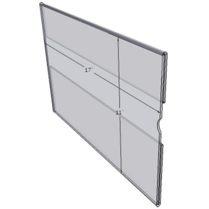 "WM1711C - 17"" X 11"" wall mounted (Landscape - C-Style Sign Holder Only) - Wall Mount Acrylic Sign Holder - Economy - .08 Inch Thickness"
