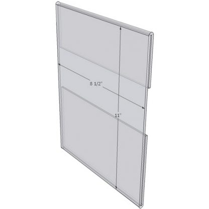 "WM8511C - 8.5"" X 11"" wall mounted (Portrait - C-Style Sign Holder Only) - Wall Mount Acrylic Sign Holder - Standard - 1/8 Inch with Horizontal Business Card Holder"