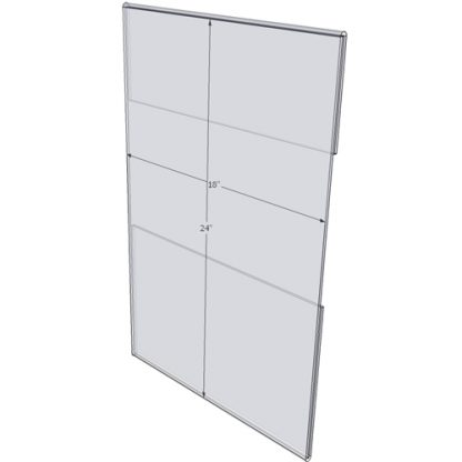 """WM1824C - 18"""" X 24"""" wall mounted (Portrait - C-Style Sign Holder Only) - Wall Mount Acrylic Sign Holder - Standard - 1/8 Inch with Horizontal Business Card Holder"""