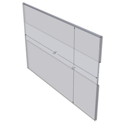 """WM2822C - 28"""" X 22"""" larger poster sized (Landscape - C-Style Sign Holder Only) - Wall Mount Acrylic Sign Holder - Standard - 1/8 Inch with Vertical Business Card Holder"""