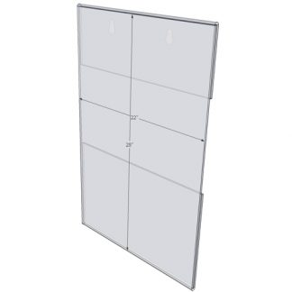 "WM2228C - 22"" X 28"" (Portrait - C-Style with Keyholes) - Wall Mount Acrylic Sign Holder - Standard - 1/8 Inch Thickness"
