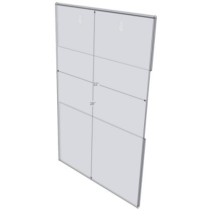 """WM2228C - 22"""" X 28"""" (Portrait - C-Style with Keyholes) - Wall Mount Acrylic Sign Holder - Standard - 1/8 Inch with Brochure Pocket"""