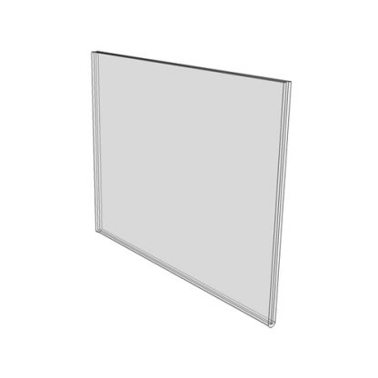 3.5 x 2 clear wall mount (Landscape - Flush Sign Holder Only) - Wall Mount Acrylic Sign Holder - Economy - .08 Inch Thickness