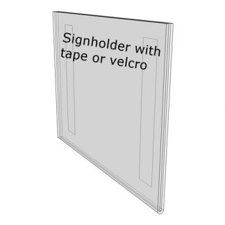 3.5 x 2 sign holder with tape(Landscape - Flush with Tape) - Wall Mount Acrylic Sign Holder - Standard - 1/8 Inch Thickness