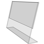 "TB3525 - 3.5"" X 2.5"" slant back (Landscape) - Tilt Back Acrylic Sign Holder - Economy - .08 Inch Thickness"